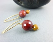 Mookaite and 14kt Gold Filled Chakra Earrings, Fall Colors, Jasper Dangle Earrings, Powerful Healing Crystals, Chakra Jewelry