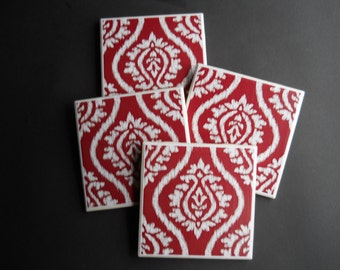 Red Coasters ~ Ikat Print ~ Red and White Coasters ~ Ceramic Tile Coasters ~ Drink Coasters ~ Damask Print Coasters ~ Coaster Set
