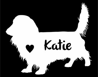 Long Haired Dachshund Dog  Vinyl Sticker Decal Car Personalized With Name