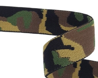 Army Camouflage Rubber Elastic Ribbon Trim 2 yards