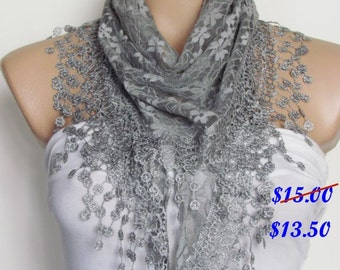 Gray Lace Scarf With Fringe Shawl Scarf Bridal Accessories Bridesmaids Long Wedding Scarf Women Fashion Accessories Christmas Gift For Her