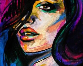 Rosie- Oil pastel original portrait of a woman, UNFRAMED