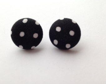 Black and White Polka Dot Fabric Button Post Earrings