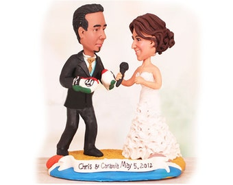 Personalised wedding cake topper - Boxer interview theme (Free shipping)