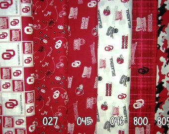 NCAA University of Oklahoma Sooners Crimson & Black College Logo Cotton Fabric! [Choose Your Cut Size]