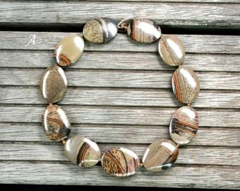 Indian Paint Jasper oval flats beads (ETB01009)