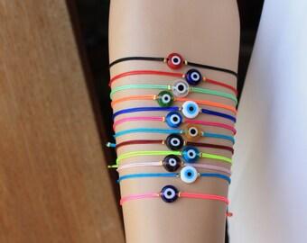 Wholesale LOT of 12  Evil Eye Cord Bracelets -   Adjustable Bracelets -Friendship  Bracelets