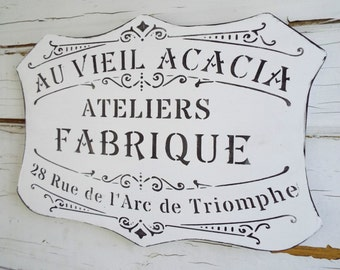 French Home Chic Rococo Plaque Sign Paris Black & White and Home Decor Art
