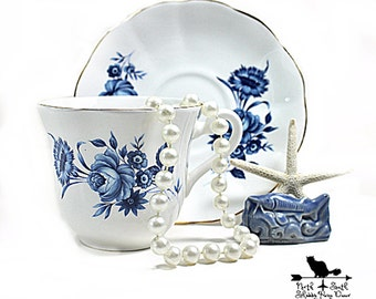 Blue Roses Teacup and Saucer, Taylor and Kent Vintage Blue Transferware, Shabby Tableware, Downton Abbey Decor