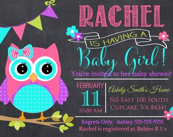 Owl Baby Shower Invitation, Pink and Teal Owl Baby Shower Invitation, Digital File 5x7 or 4x6, Hoot Baby Shower Invitation