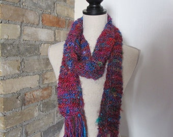 Colourful Scarf Made from Recycled Silk Saris, Warm and Cosy Scarf