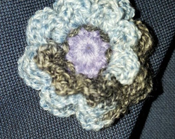 Blue Gray wool lapel pin