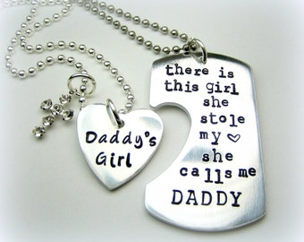 Personalized Handstamped Daddy daughter keychain necklace with cross charm - There is this girl she calls me daddy father's day