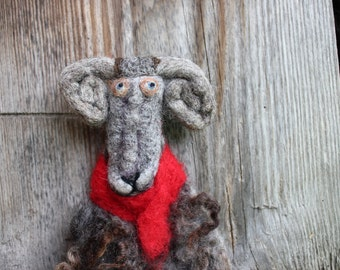 Needle Felted Sheep Eco friendly Needle felted animal Christmas Sheep Wall hanging