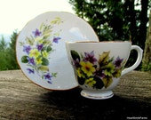 Duchess English Bone China - # 346 Purple and Yellow Flower Tea Cup - Duchess Tea Cup