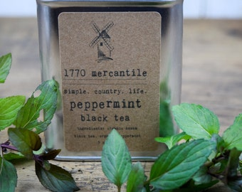 Organic Peppermint loose leaf Assam Black Tea blend 3 oz tin