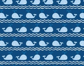 "Whale Fabric - ""Rowing"" from True Blue Collection by Ana Davis for Blend Fabrics. Blue Nautical Whales. Nursery. 100% cotton. 113.105.03.2"