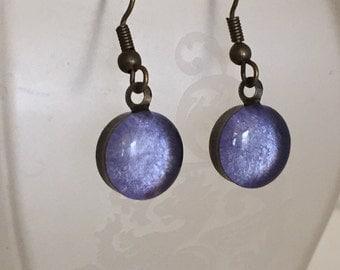 Lavender Bezel Earrings
