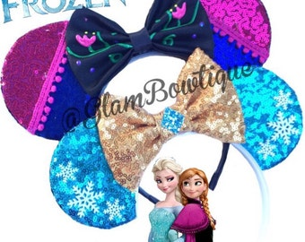 Frozen Mouse ears, mouse ears, hair clip, mickey ears, Minnie Mouse ears, hair clip, Elsa Ears, Anna mouse ears