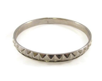 Pyramid Spike Silver Tone Bangle Bracelet