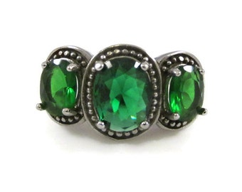 Three Stone Simulated Emerald and Silver Tone Ring - Size 11