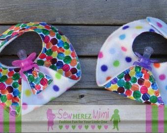 TWINS Paci Bibs Reversible Multi Polka Dots Binky Holder Bib Gender Neutral PREEMIE Infant Toddler