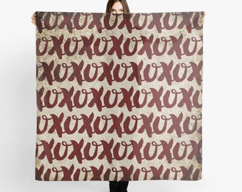 XOXO Hugs and Kisses Scarf - Romance - Red and Tan - Valentine's Gift - Fashion Scarf
