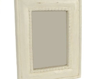 Beaded Photo Picture Frame in Antique White - 4 x 6