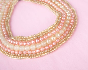 Vintage 60s BEADED Collar Necklace | 1960s Pink Cream FAUX PEARLS Bib Statement Necklace