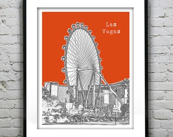Presidents Day Sale 15% Off - Las Vegas Skyline Art Print Poster Sin City Nevada Version 3