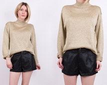 80's gold turtleneck / metallic knit sweater / lame draped jumper / Vintage 1980s glam retro