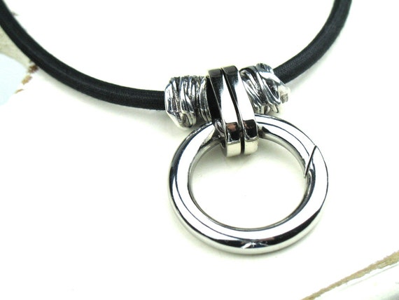 Fiber Necklace in Black and Silver with Mokuba Cord, Metal Beads and Ring Pendant