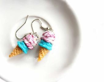 Ice Cream Earrings, Dessert Jewelry, Food Earrings, Raspberry Bubblegum,Turquoise Dangle Earring, Fun Earrings, Kawaii Food Jewelry Gifts