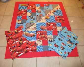 Cars theme quilt and 2 pillow cases