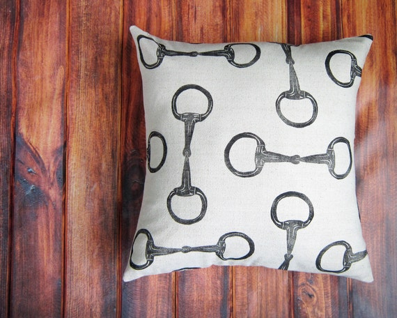 Equestrian Pillow Cover fits 18 x 18 pillow- handprinted english snaffle bit- Cover Only