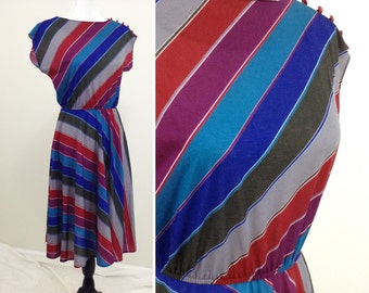 Vintage Purple & Blue Striped Dress