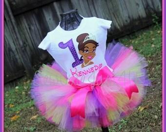 Princess Tiana Birthday Number Shirt and Tutu Set