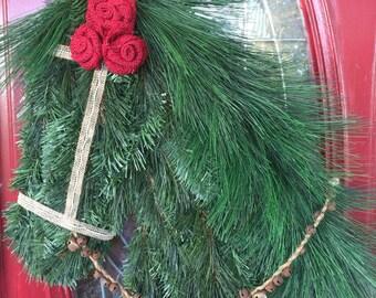 Rust and Burlap Horse Wreath