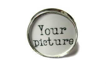 Custom Photo Ring - Picture Ring - Photo Jewelry 26mm Photo -silver coloured  Setting - Mothers Day Mom Mimi Nana Grandma