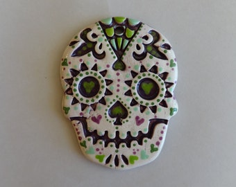 Purples and Greens Spiderweb Sugar Skull