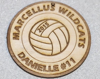 "Personalized Wooden Volleyball Ornament 3"" diameter Player Name, School included"
