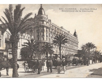 Carlton Hotel, Cannes, France Photo Postcard, 1918