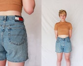 TOMMY HILFIGER 90s Light Wash Denim High Rise Jean Shorts High Waisted 1990s Retro Hipster 28 Small S