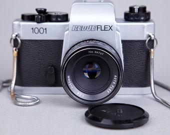 Film Camera Revueflex 1001. SLR camera. Chinon. Lens Auto Flex 50mm 1:2,8