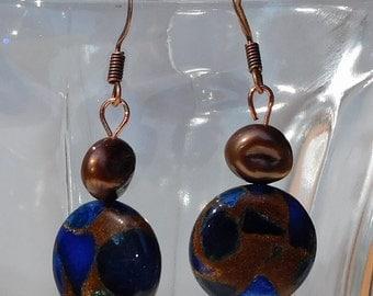 Navy & Copper Beaded Earrings (JLN004)