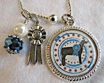 Vintage Show Sheep Charm Necklace-Country Girl-Farm Girl-Stock Show- Ribbon-Champion