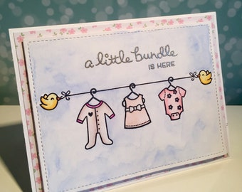 Little Bundle, Baby Girl greetings card
