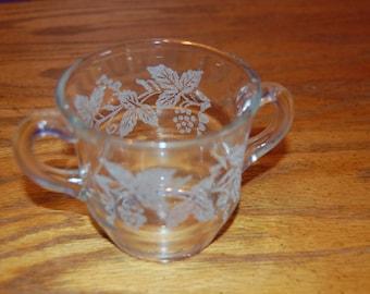 Vintage Bartlett Collins Sugar Bowl, Frosted Grapes, Frosted Grapevine, Mid Century Sugar Bowl, Glass Sugar Bowl