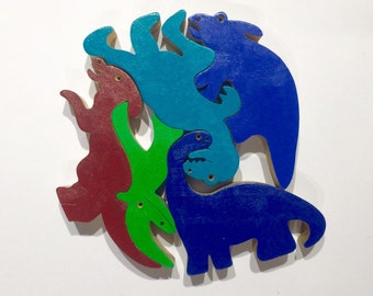 Wooden toy ,  Colored Wood Dinosaurs Puzzle , Wooden Dinosaurs Toy Set , Waldorf toy , Eco-friendly toy , Educational Toy