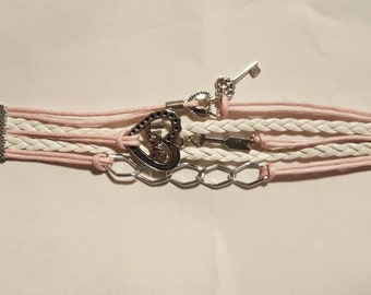 Trinket Band Bracelet in pink and white and silver charms